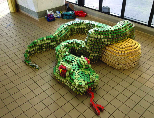 snake made from cans